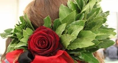 CORONA di LAUREA con nastro e rosa rossa su fiocco