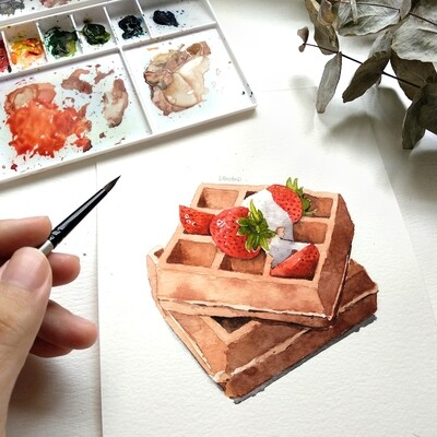 Food Watercolor Workshop: Waffles /10 Oct
