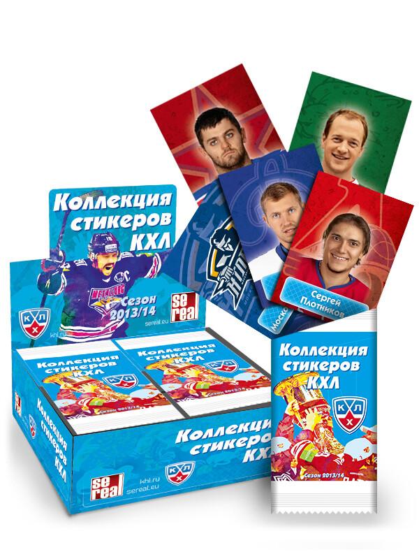 2 бокса наклеек КХЛ сезон 2013/14 - 100 упаковок + Альбом для наклеек коллекции ''КХЛ 2013/14'' + 1 упаковка 5 наклеек