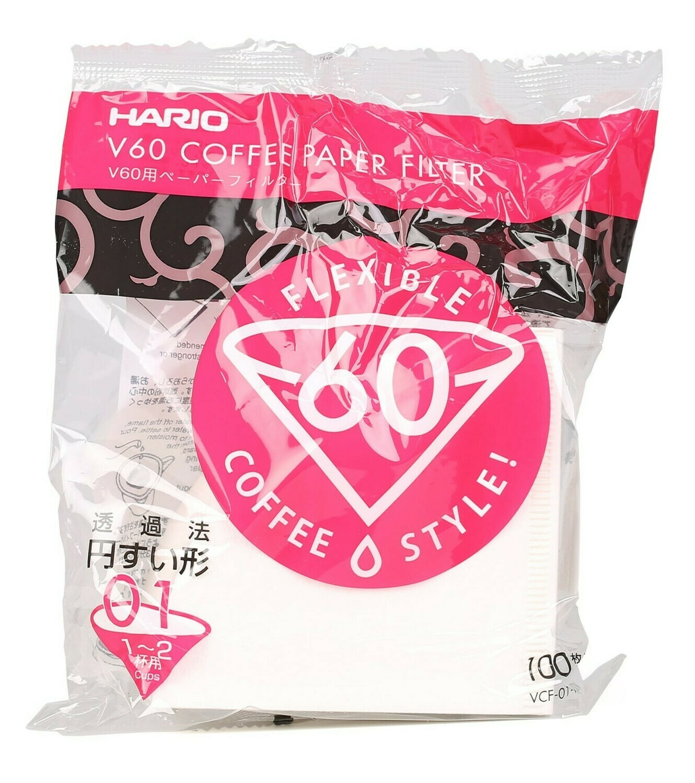 HARIO VCF-01-100W V60濾杯專用濾紙 (100入/漂白) V60 Coffee Paper Filter