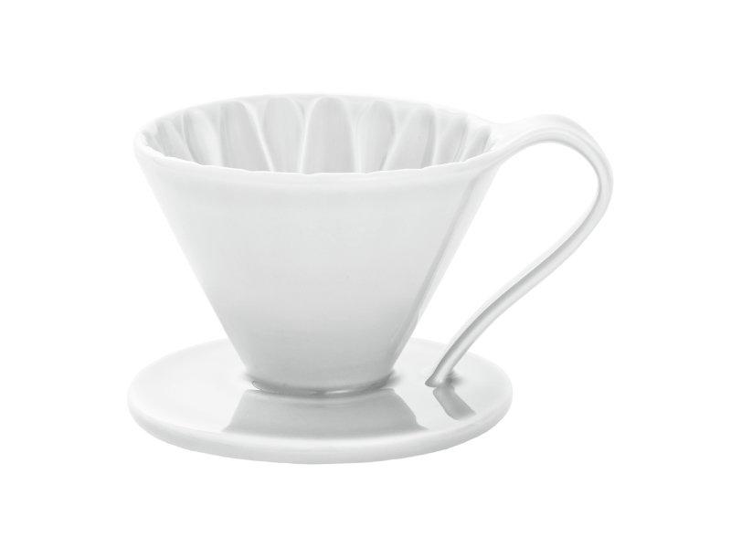 日本 CAFEC CFD-1WH 三洋 有田焼 葵花 花形陶瓷濾杯 (白/1-2杯用)