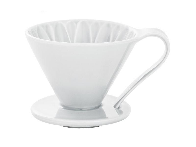 日本 CAFEC CFD-4WH 三洋 有田焼 葵花 花形陶瓷濾杯 (白/1-4杯用)