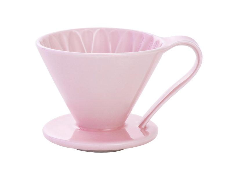 日本 CAFEC CFD-4PI 三洋 有田焼 葵花 花形陶瓷濾杯 (粉紅/1-4杯用)