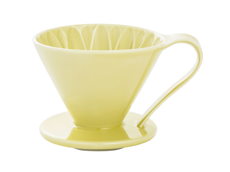 日本 CAFEC CFD-4YE 三洋 有田焼 葵花 花形陶瓷濾杯 (黃/1-4杯用)