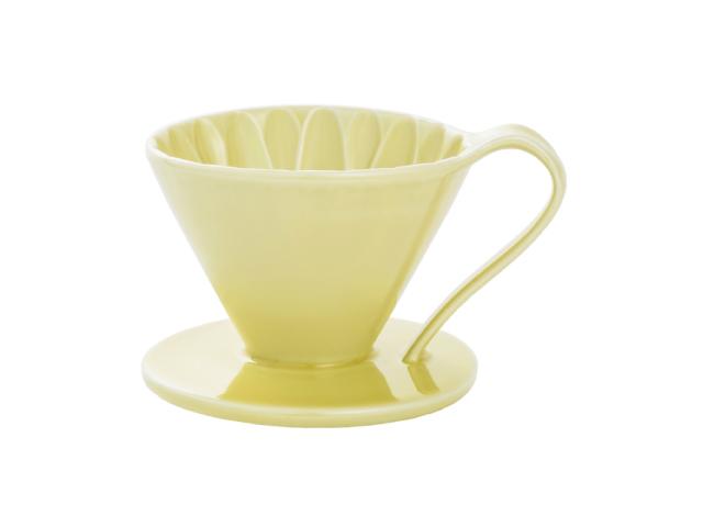 日本 CAFEC CFD-1YE 三洋 有田焼 葵花 花形陶瓷濾杯 (黃/1-2杯用)