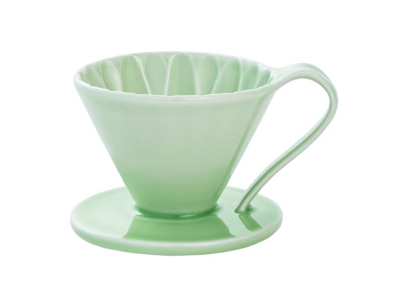 日本 CAFEC CFD-1GR 三洋 有田焼 葵花 花形陶瓷濾杯 (綠/1-2杯用)