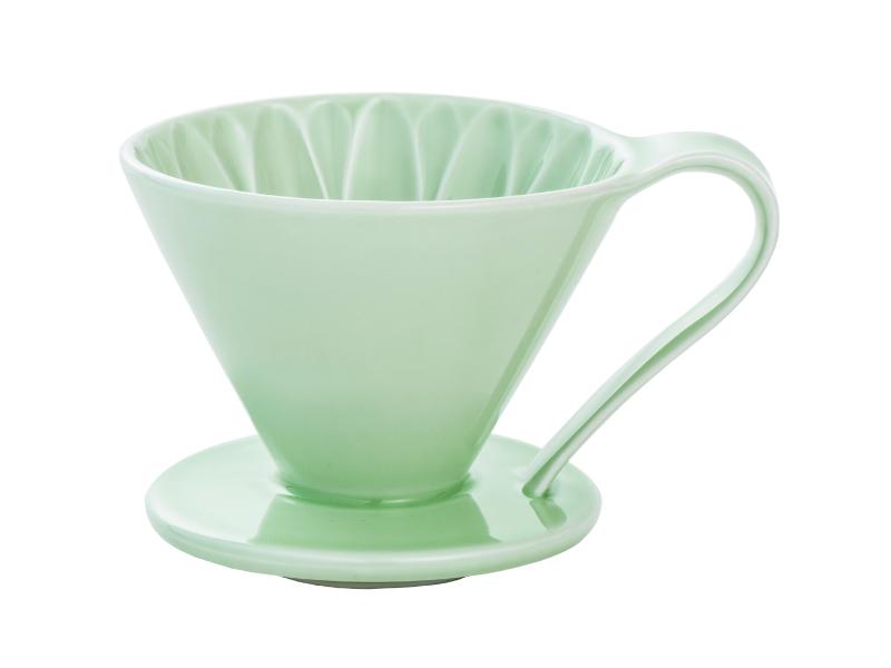 日本 CAFEC CFD-4GR 三洋 有田焼 葵花 花形陶瓷濾杯 (綠/1-4杯用)