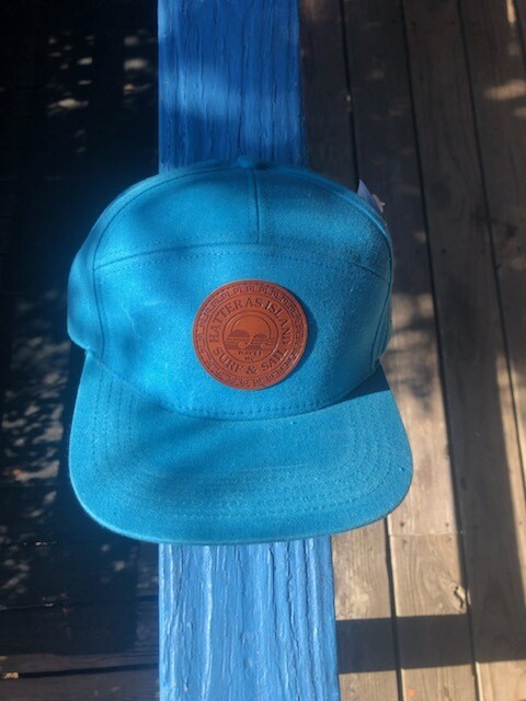 HISS Leather Patch Canvas 5 Panel Hat - Sea Blue