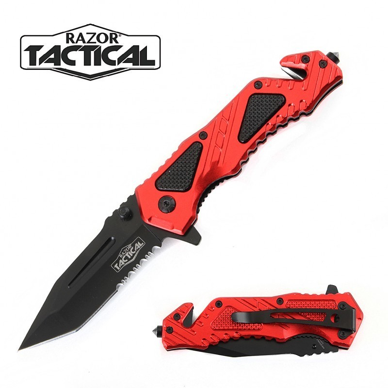 SPRING ASSISTED KNIFE W/ METAL HANDLE RED