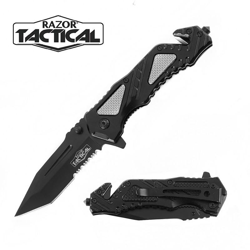 SPRING ASSISTED KNIFE W/ METAL HANDLE BLACK