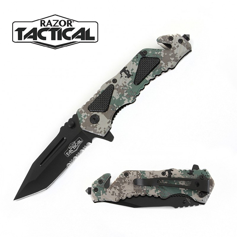SPRING ASSISTED KNIFE W/ METAL HANDLE CAMO