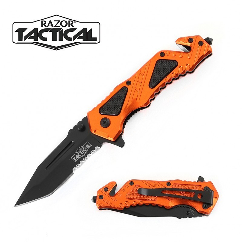 SPRING ASSISTED KNIFE W/ METAL HANDLE ORANGE