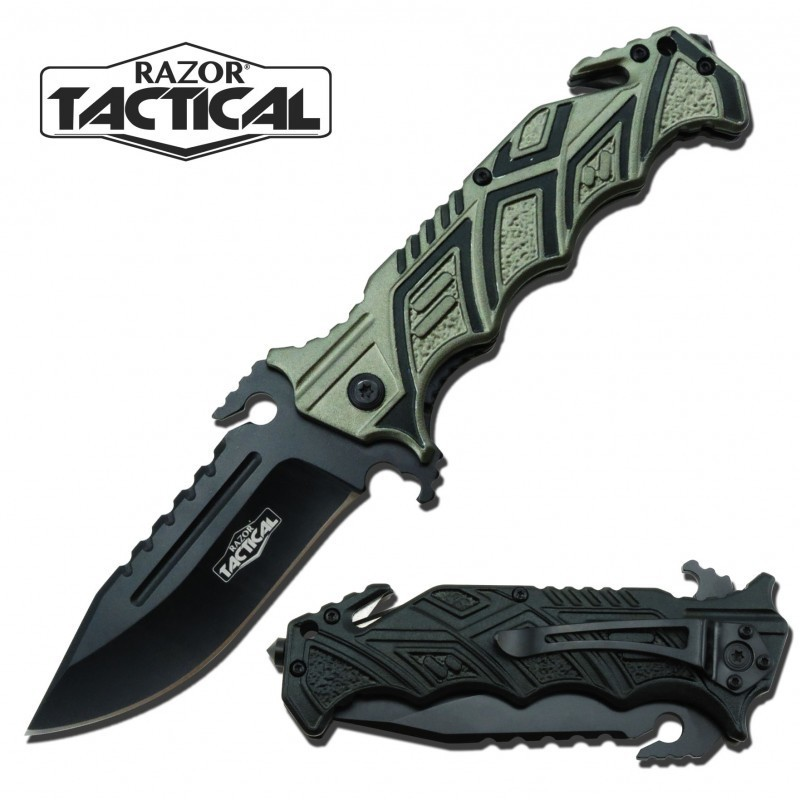 TACTICAL KNIFE W/ METAL HANDLE GREEN