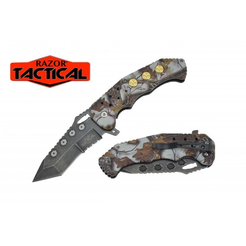 SPRING ASSISTED KNIFE W/ABS HANDLE, 4.5 CLOSED GRAY CAMO