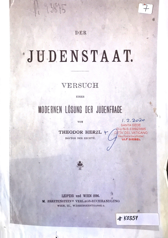 #K0357 l Der Judenstaat - Versuch einer modernen Lösung der Judenfrage Von Theodor Herzl