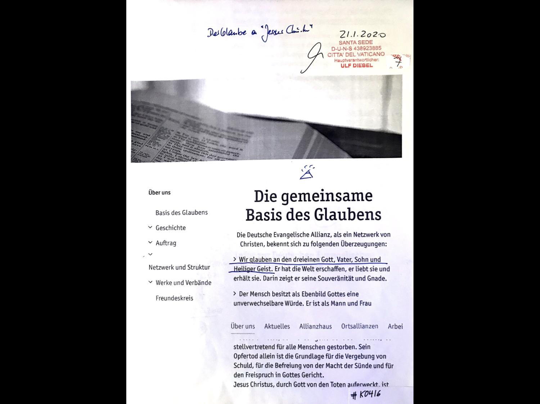 #K0416 l Der Glaube an 'Jesus Christus' l Die gemeinsame Basis des Glaubens - Die Deutsche Evangelische Allianz l Santa Sede - Hauptverantwortlicher Ulf Diebel