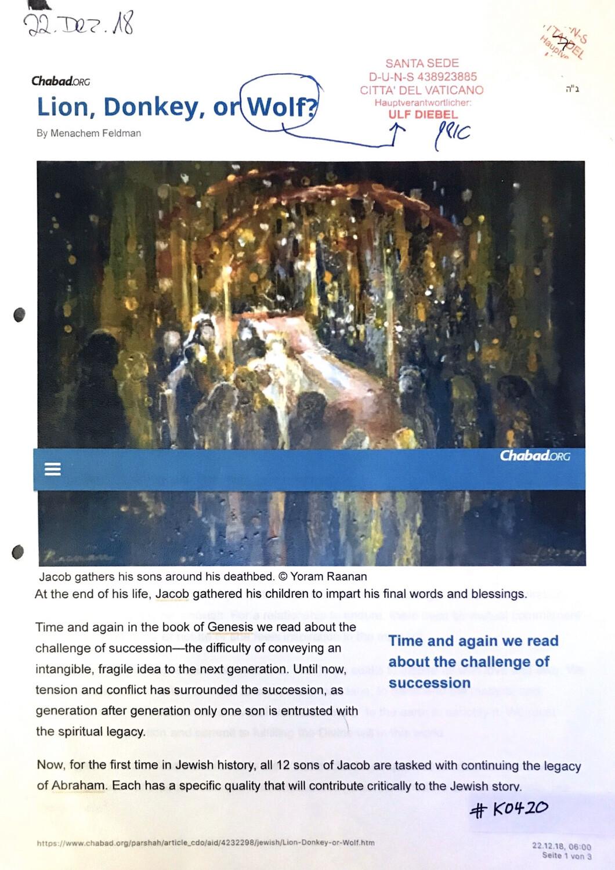 #K0420 l Lion, Donkey, or Wolf? Chabad.org l Santa Sede - Hauptverantwortlicher Ulf Diebel