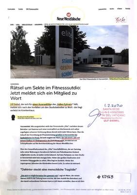 #K0163 l Harsewinkel l Neue Westfälische - Rätsel um Sekte im Fitnessstudio: Jetzt meldet sich ein Mitglied zu Wort