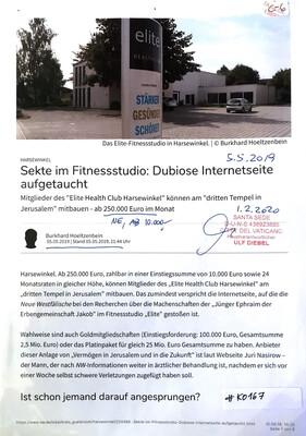 #K0167 l Harsewinkel - Sekte im Fitnessstudio: Dubiose Internetseite aufgetaucht