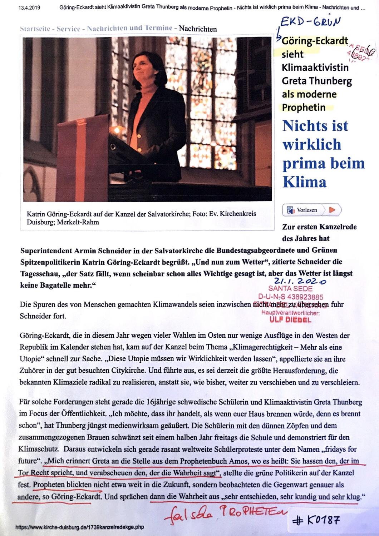 #K0187 l Göring-Eckardt sieht Klimaaktivistin Greta Thunberg als moderne Prophetin