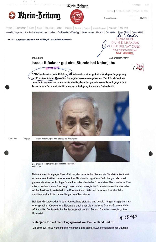 #K0190 l Rhein-Zeitung l Jerusalem - Israel: Klöckner gut eine Stunde bei Netanjahu