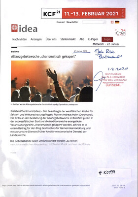 "#K0194 l idea -Bielefeld l  Allianzgebetswoche ""charismatisch gekapert"""