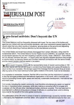 #K0200 l To pro-Israel activists: Don't boycott the UN
