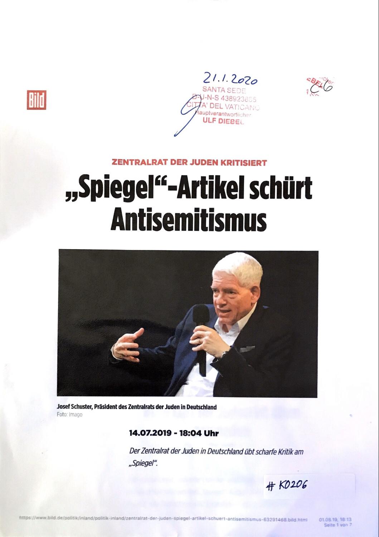 """#K0206 l Bild - Zentralrat der Juden kritisiert - """"Spiegel""""-Artikel schürt Antisemitismus"""