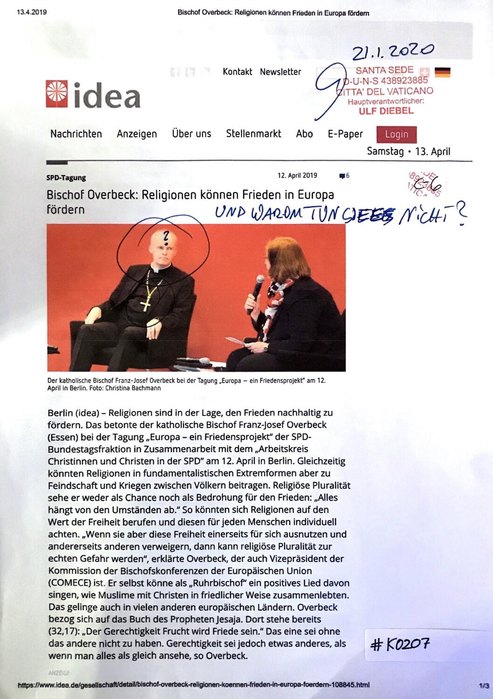 #K0207 l idea - SPD-Tagung l Bischof Overbeck: Religionen können Frieden in Europa fördern