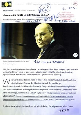 """#K0210 l Deutschland - Gregor Gysi ist sich sicher l Jesus wäre heute """"ein kritischer Linker"""""""