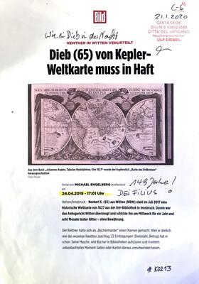 #K0213 l Bild - Rentner in Witten verurteilt l Dieb (65) von Kepler-Weltkarte muss in Haft