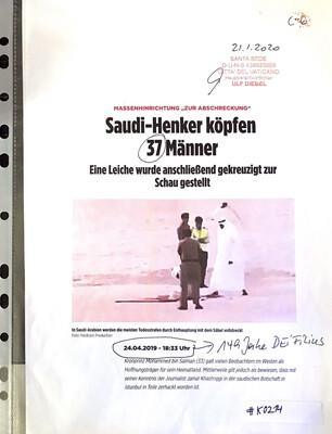 """#K0214 l Massenhinrichtung """"zur Abschreckung"""" l Saudi-Henker köpfen 37 Männer - Eine Leiche wurde anschließend gekreuzigt zur Schau gestellt"""