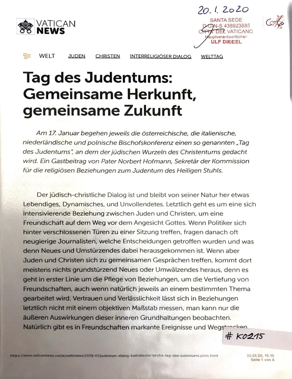 #K0215 l Vatican News - Tag des Judentums: Gemeinsame Herkunft, gemeinsame Zukunft