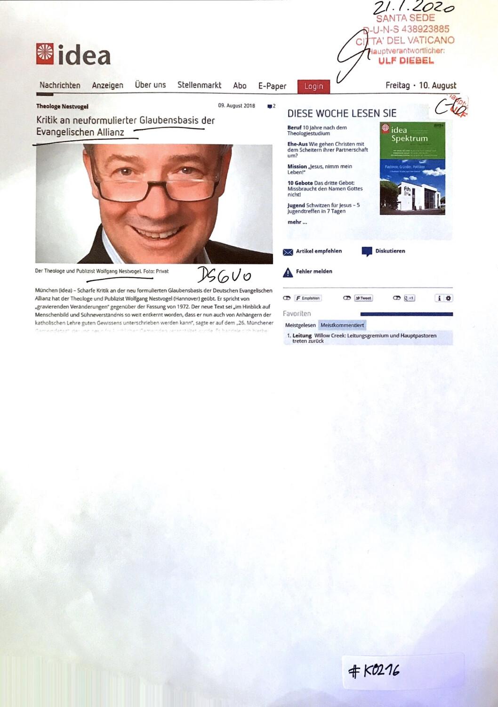 #K0216 l idea - Kritik an neu formulierter Glaubensbasis der Evangelischen Allianz