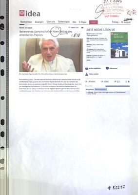 #K0217 l idea - Kirche und Juden l Bekennende Gemeinschaften loben Beitrag des emeritierten Papstes