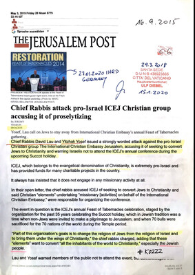 #K0222 l The Jerusalem Post - Chief Rabbis attack pro-Israel ICEJ Christian group accusing it of proselytizing