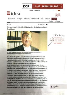 #K0227 l idea - Abromeit sieht Überidentifikation der Deutschen mit dem Staat Israel