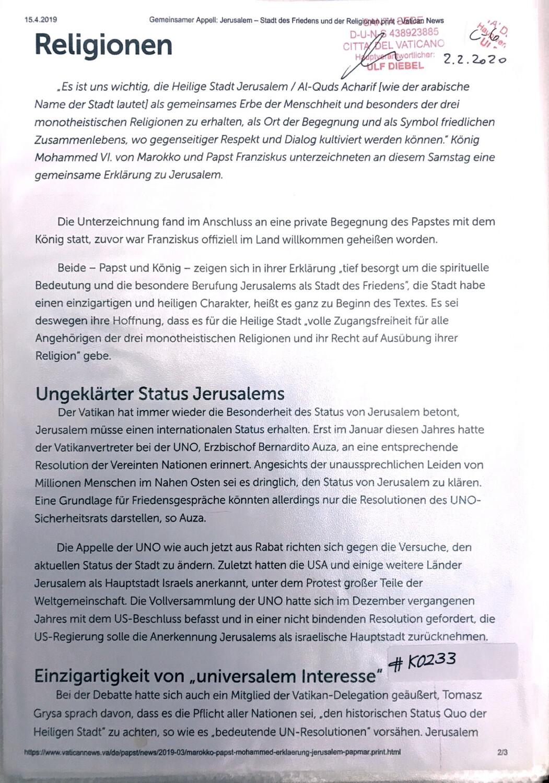 """#K0233 l Religionen, Ungeklärter Status Jerusalem, Einzigartigkeit von """"universalem Interesse"""""""