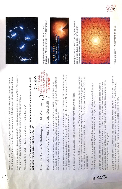 #K0238 l Die Reuter's Meldung vom 24.Oktober - Rothschild verkauft Trust-Services-Geschäft