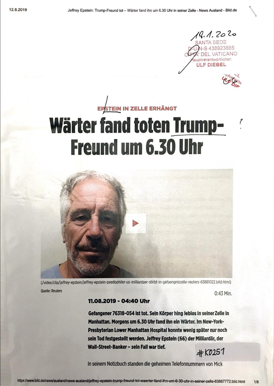 #K0251 l Wärter fand toten Trump-Freund um 6:30 Uhr