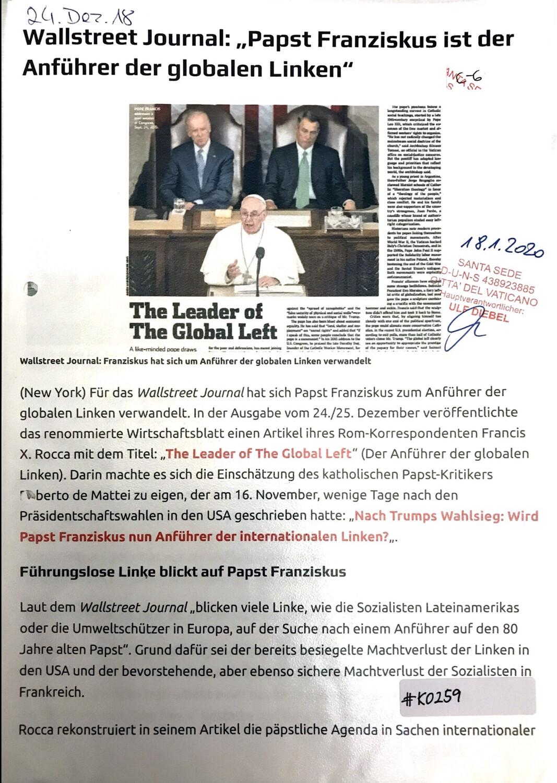 "#K0259 l Wallstreet Journal: ""Papst Franziskus ist der Anführer der globalen Linken"""