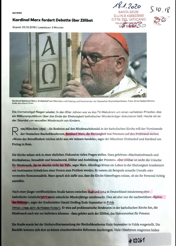 #K0261 l Welt - Kardinal Marx fördert Debatte über Zölibat