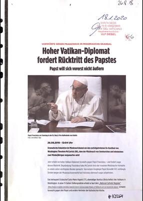 #K0264 l Bild - Hoher Vatikan-Diplomat fordert Rücktritt des Papstes - Papst will sich vorerst nicht äußern