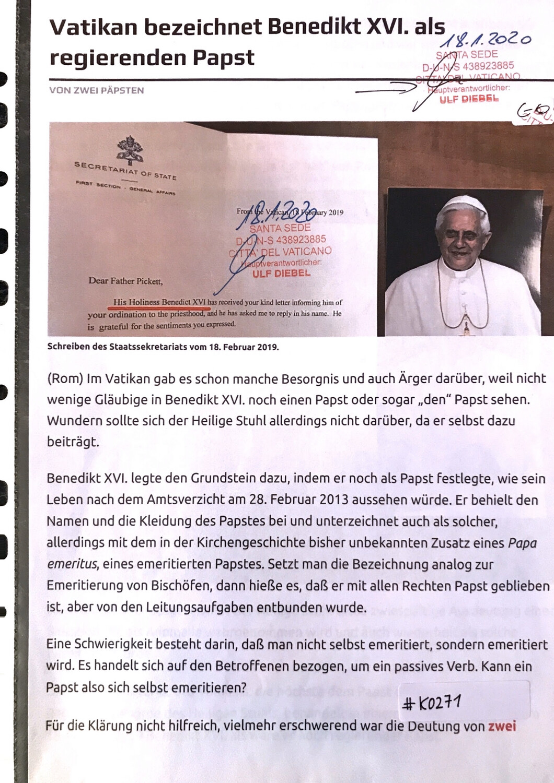 #K0271 l Vatikan bezeichnet Benedikt XVI. als regierenden Papst