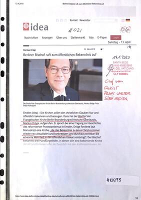 #K0273 l Berliner Bischof ruft zum öffentlichen Bekenntnis auf