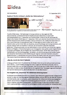 """#K0274 l idea - Bedford-Strohm kritisiert """"Geißel des Nationalismus"""""""