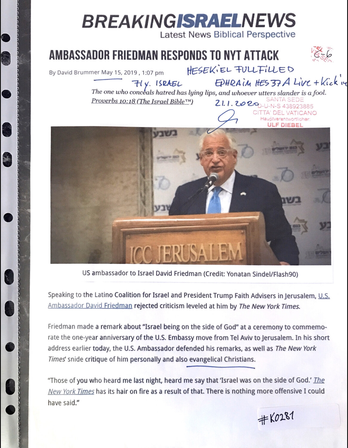 #K0281 l Breaking Israel News - Ambassador Friedman responds to NYT attack