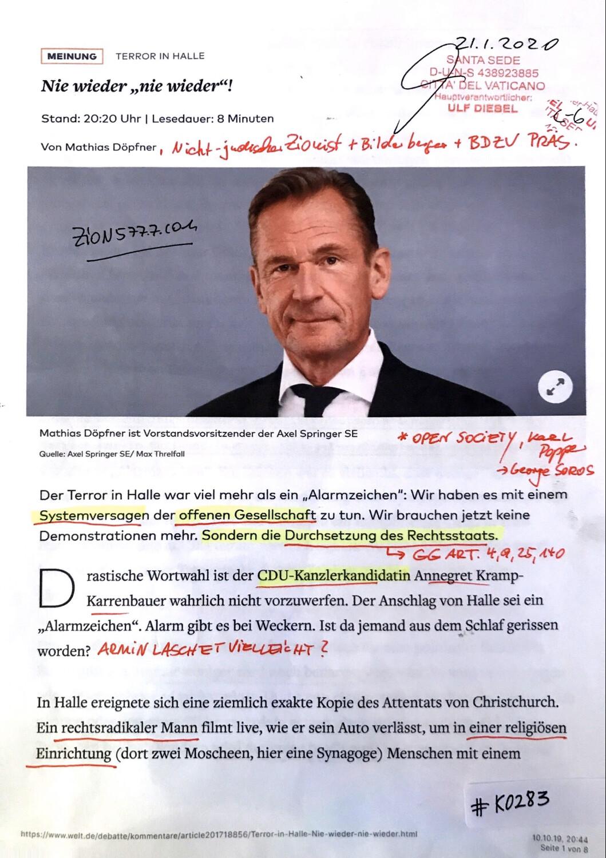 """#K0283 l Welt - Mathias Döpfner - Nie wieder """"nie wieder""""!"""