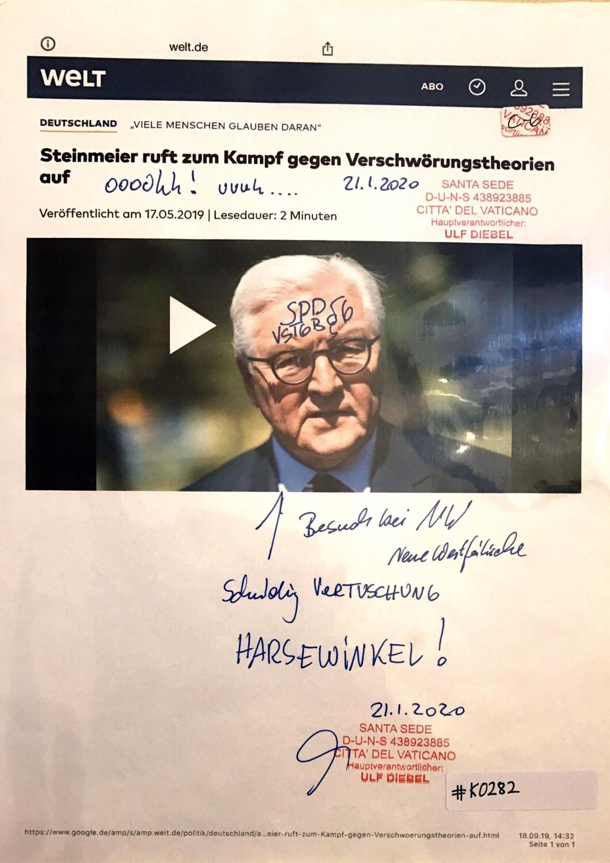 #K0282 l Welt - Steinmeier ruft zum Kampf gegen Verschwörungstheorien auf