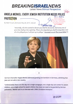 #K0284 l Breaking Israel News - Angela Merkel: Every Jewish institution needs people protection